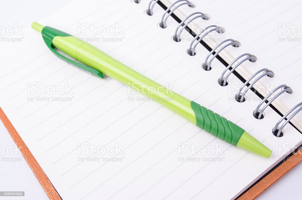 Note and pen with copy space stock photo