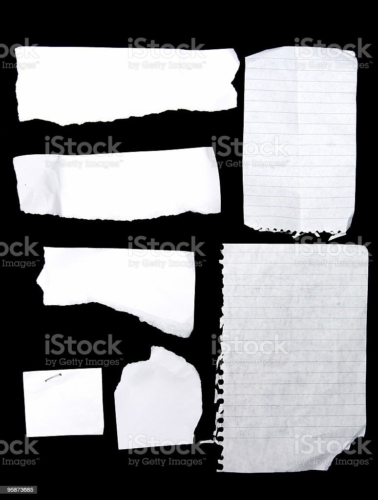 note book scraps stock photo