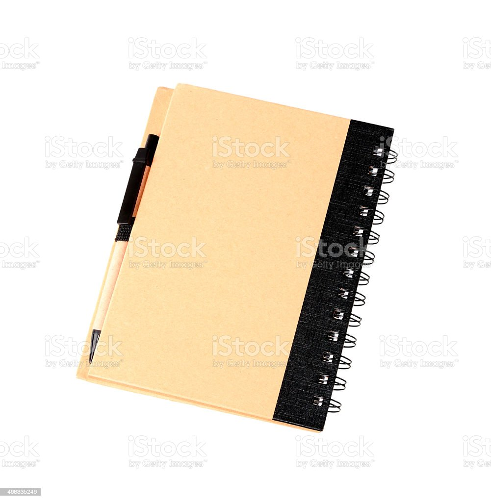 Note book with pen isolated on white stock photo
