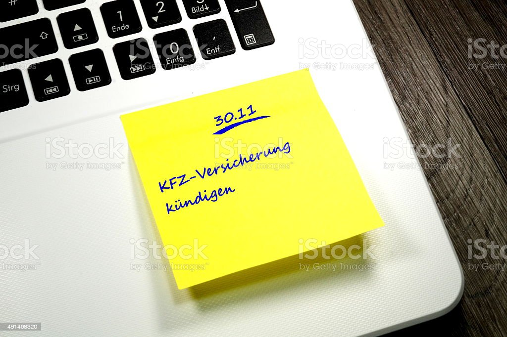 Notiz KFZ Versicherung stock photo