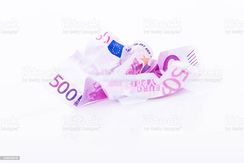 EUR 500 note crumpled on white background stock photo