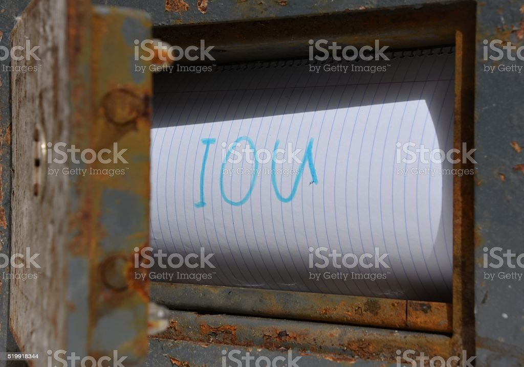 IOU note inside an old Safe Box stock photo