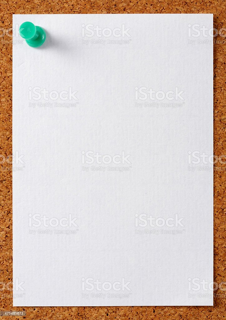 Note memo paper with green pin royalty-free stock photo