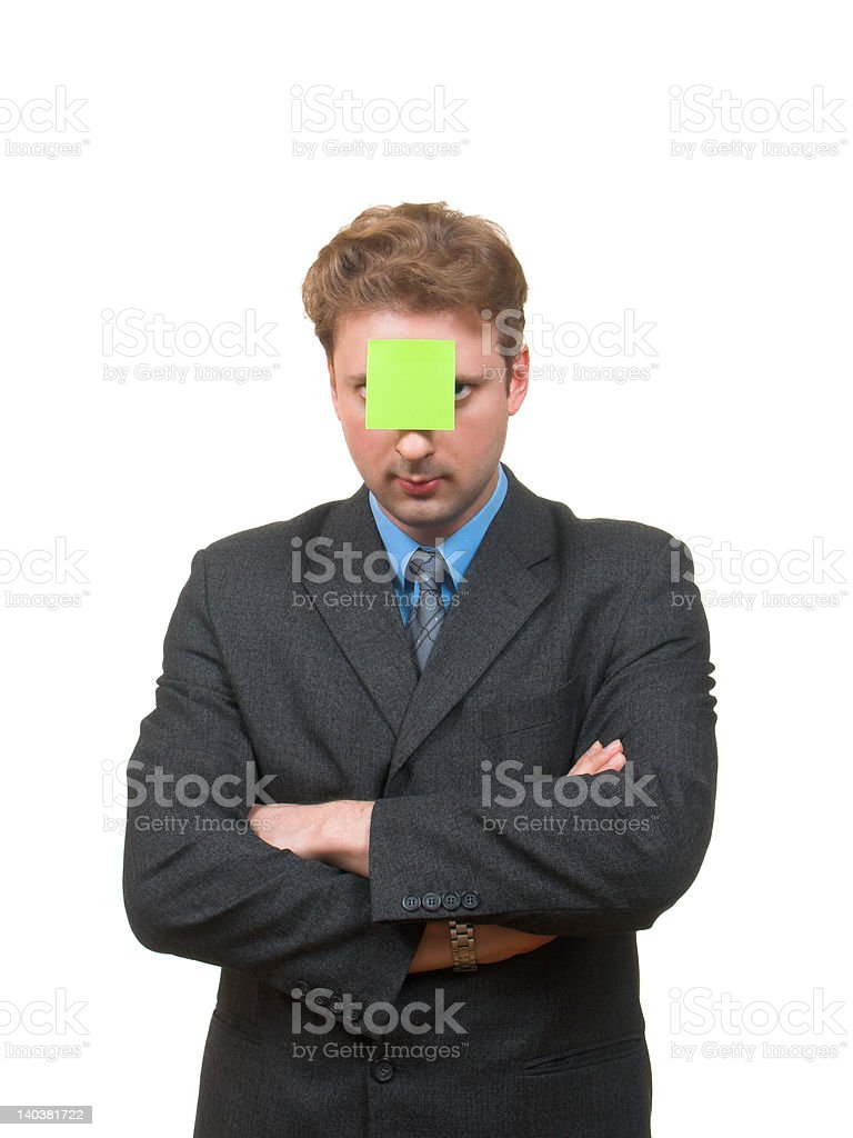 Note on a forehead stock photo
