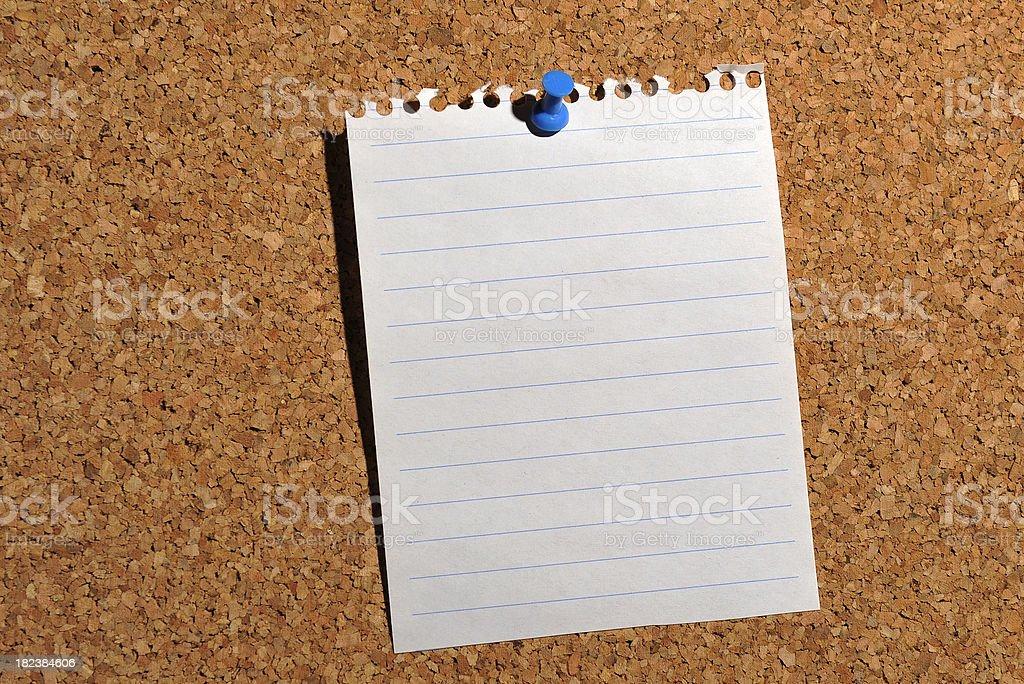 Note on cork bulletin board royalty-free stock photo