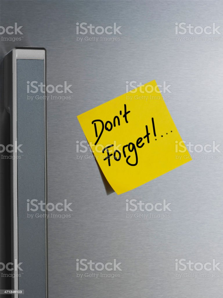 Note on Refrigerator Door. Don't Forget stock photo