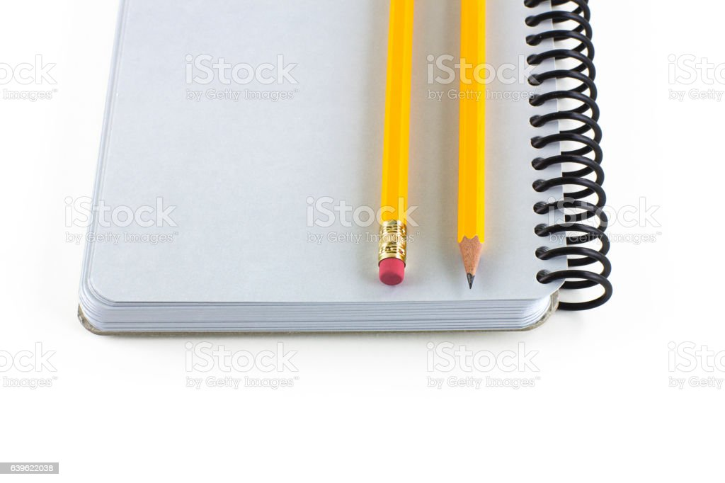 Note pad and Pencils stock photo