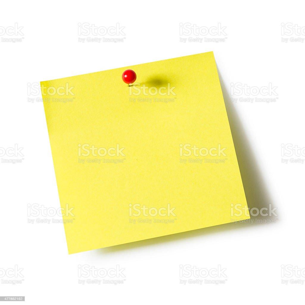 Note pad and push pin stock photo