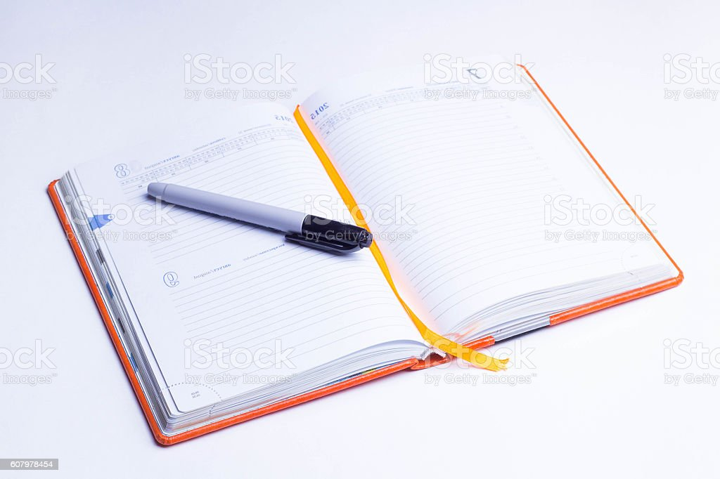 note pad on a white background stock photo