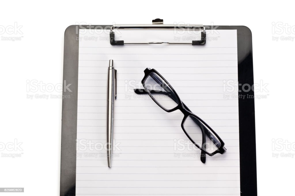 Note pad, pen and glasses on a white background stock photo