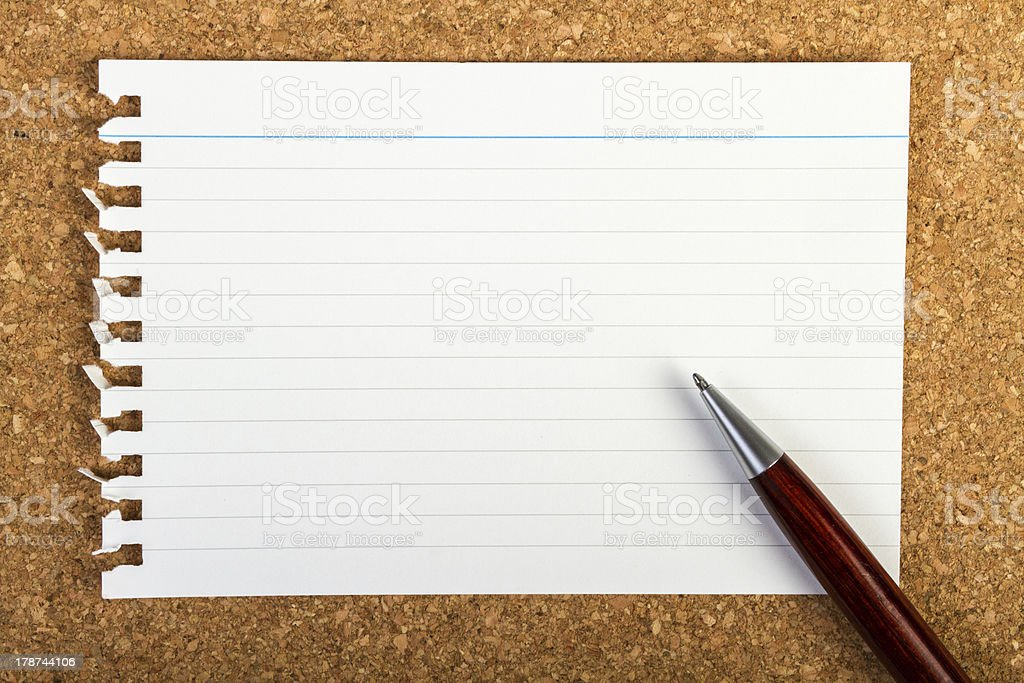 Note pad sheet and pen royalty-free stock photo
