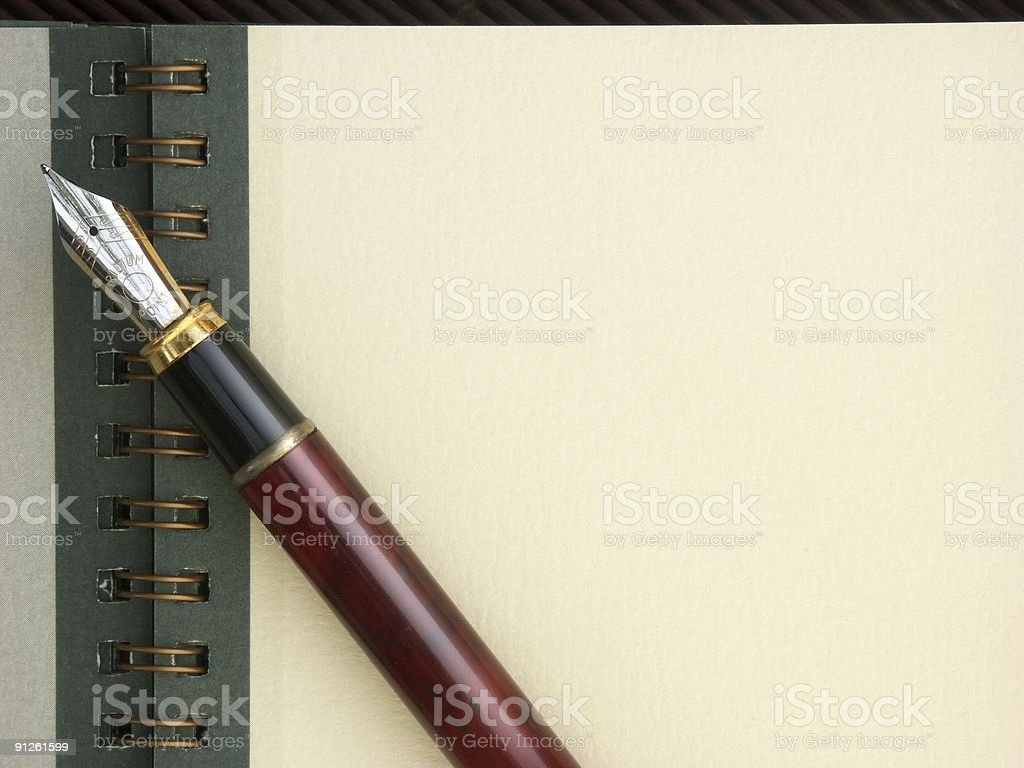 Note pad with pen and copy space stock photo