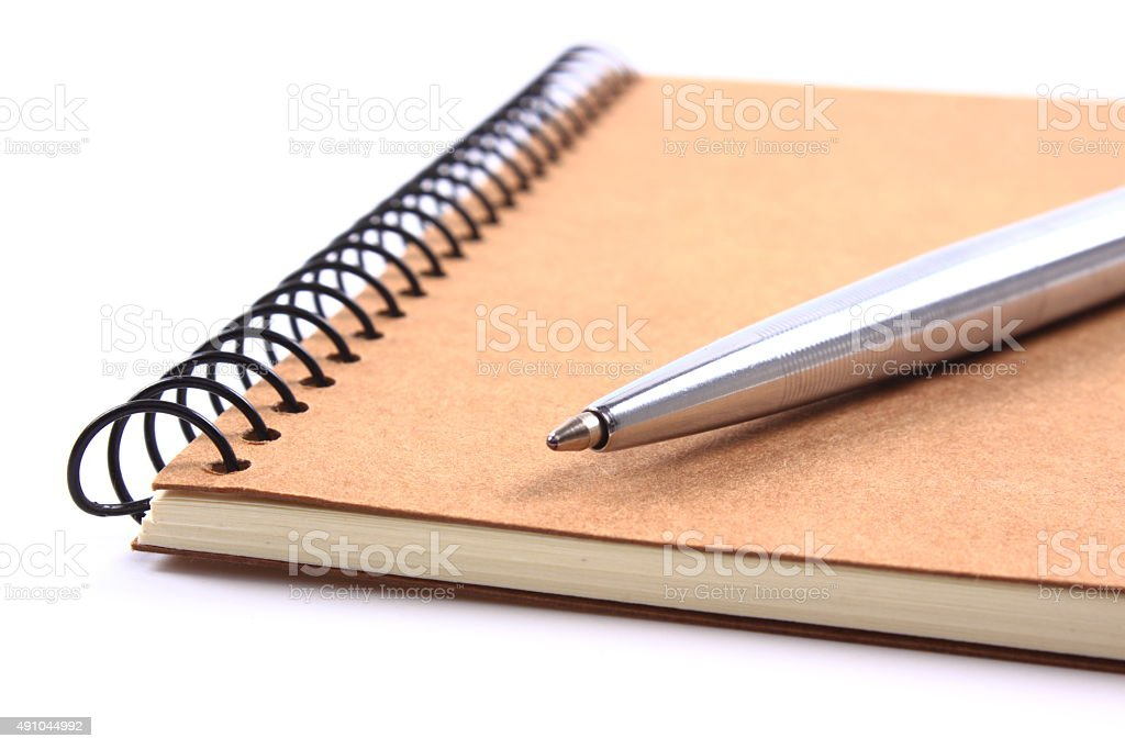 Note pad with pen stock photo