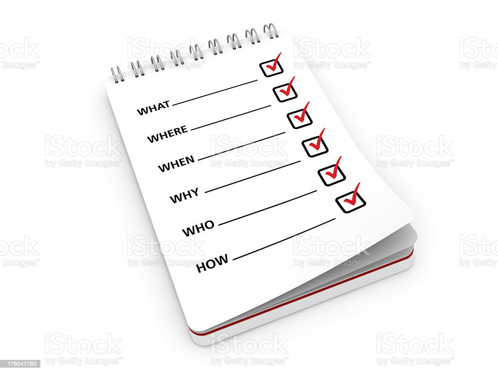 Note Pad with Questions stock photo