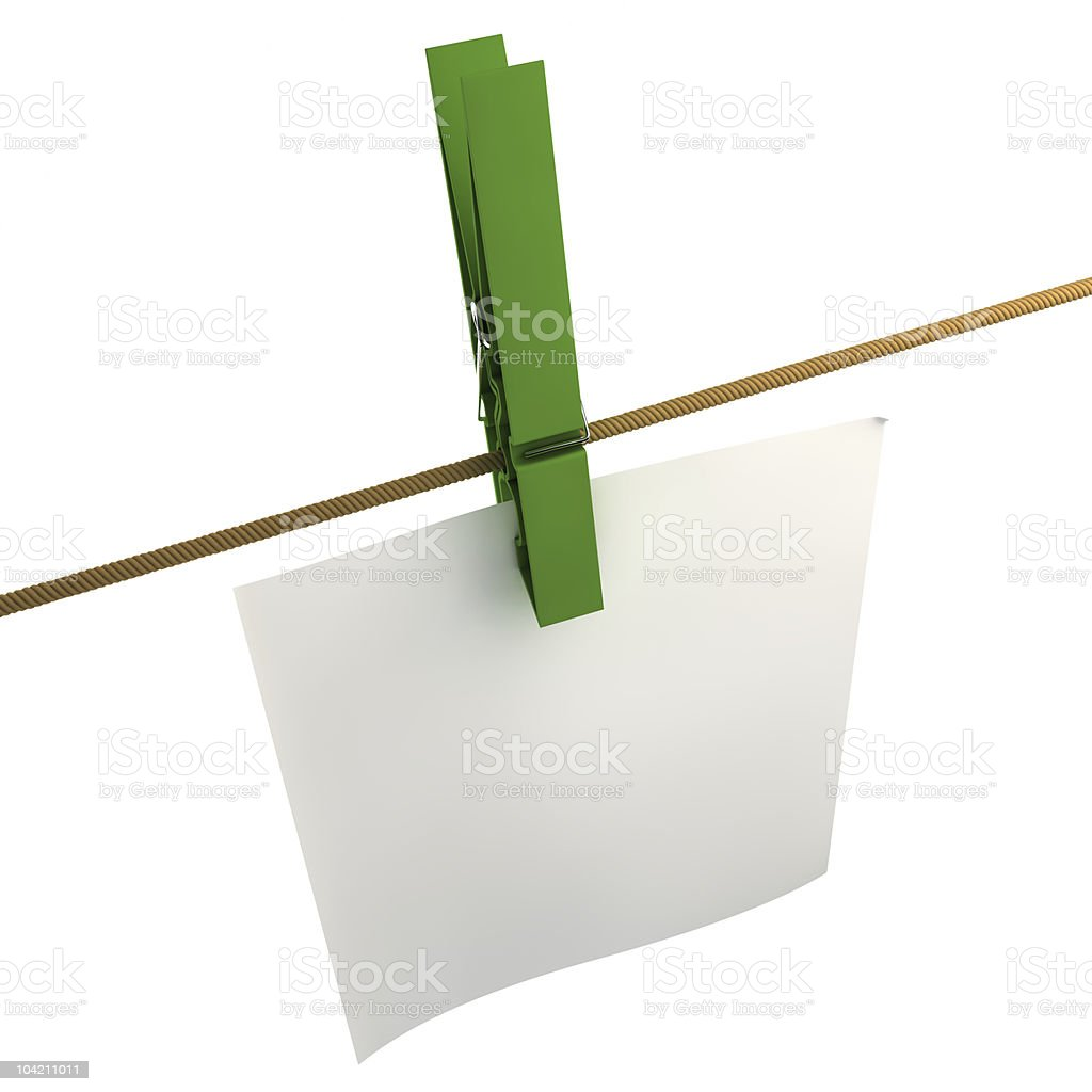 Note paper along the string royalty-free stock photo