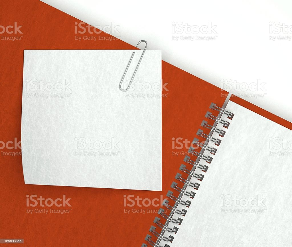 Note paper in open notebook royalty-free stock photo