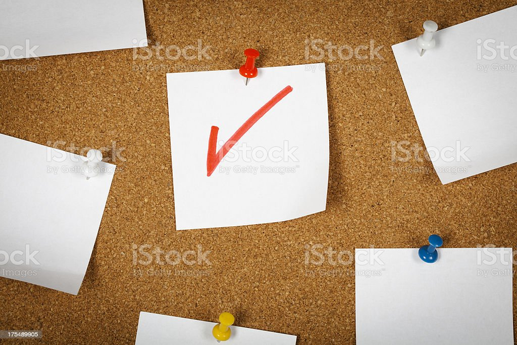 Note paper (Check Mark) stock photo