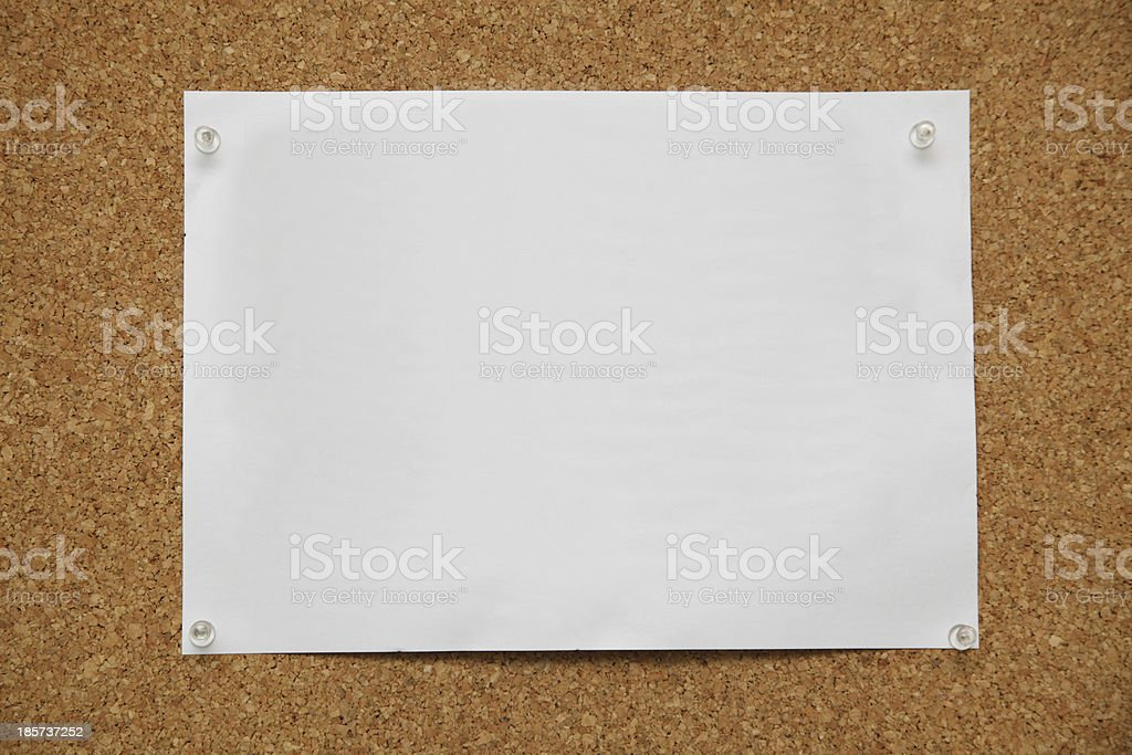 note paper pined on cork board background royalty-free stock photo