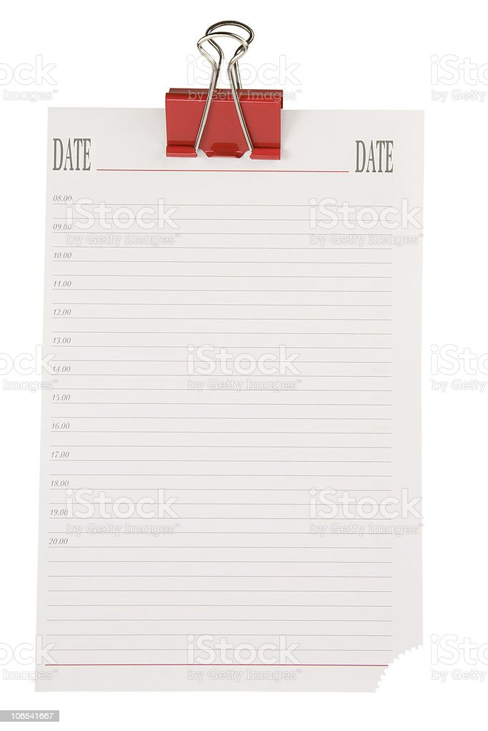 Note paper with clip.Blank Note.To-do list. royalty-free stock photo