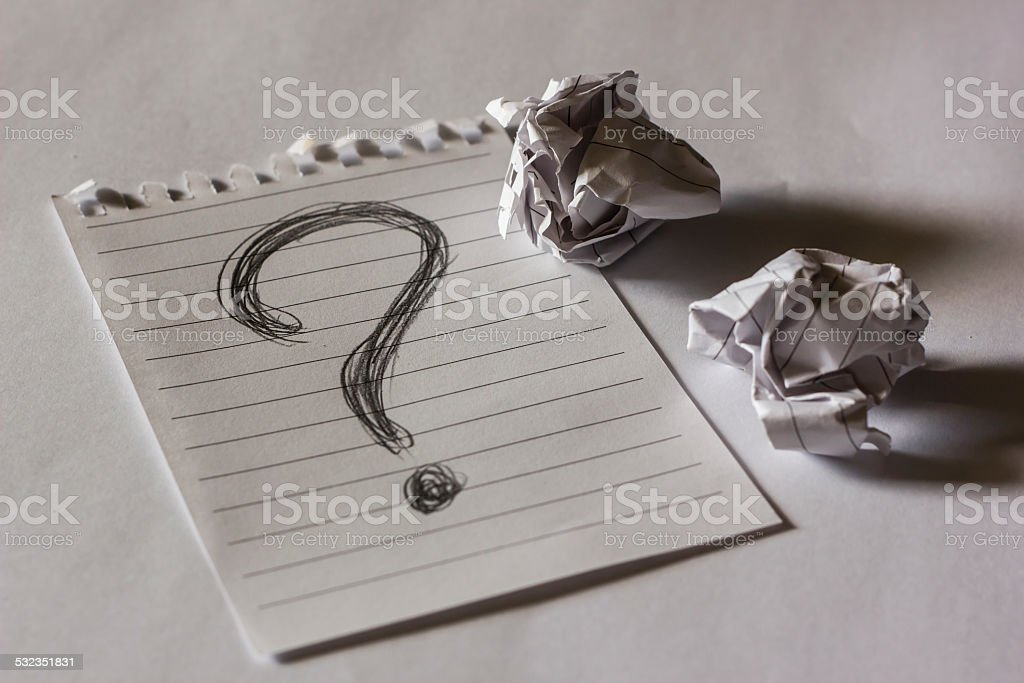 note paper with crumpled paper stock photo