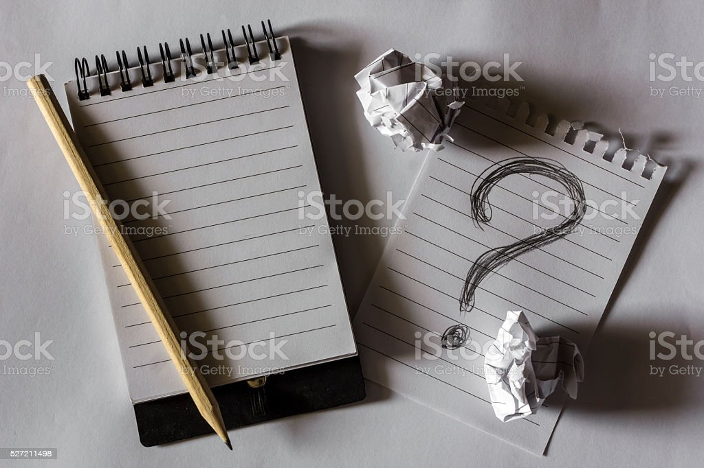 note paper with crumpled paper, question mark , FAQ stock photo