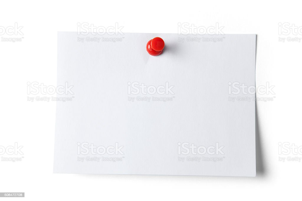 Note paper with Push Pin stock photo