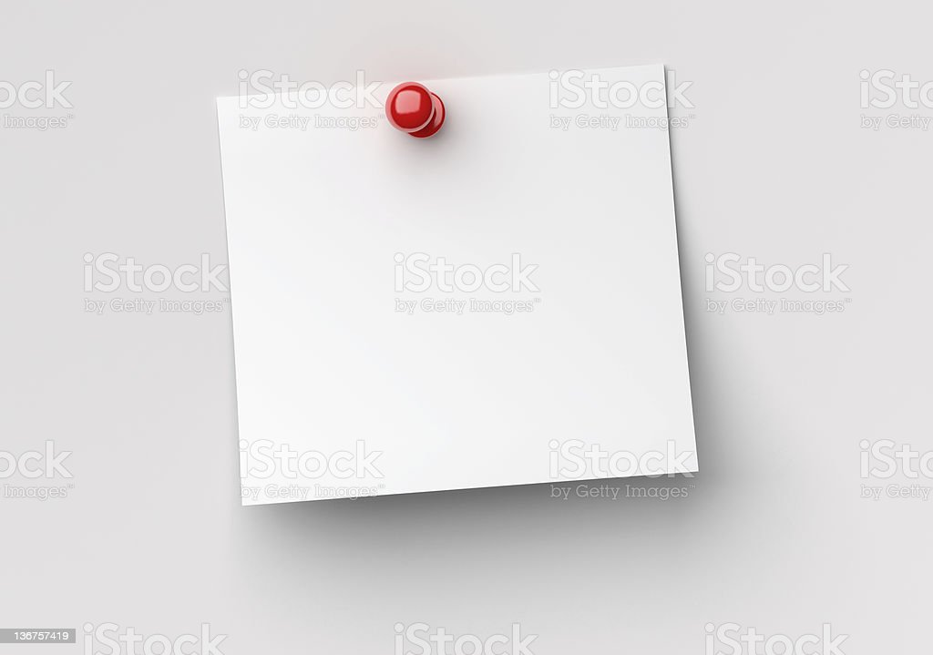 note paper with red push pin stock photo