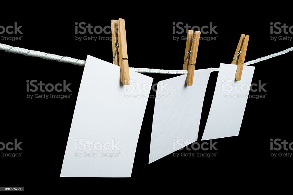 Note papers hooked on a rope royalty-free stock photo