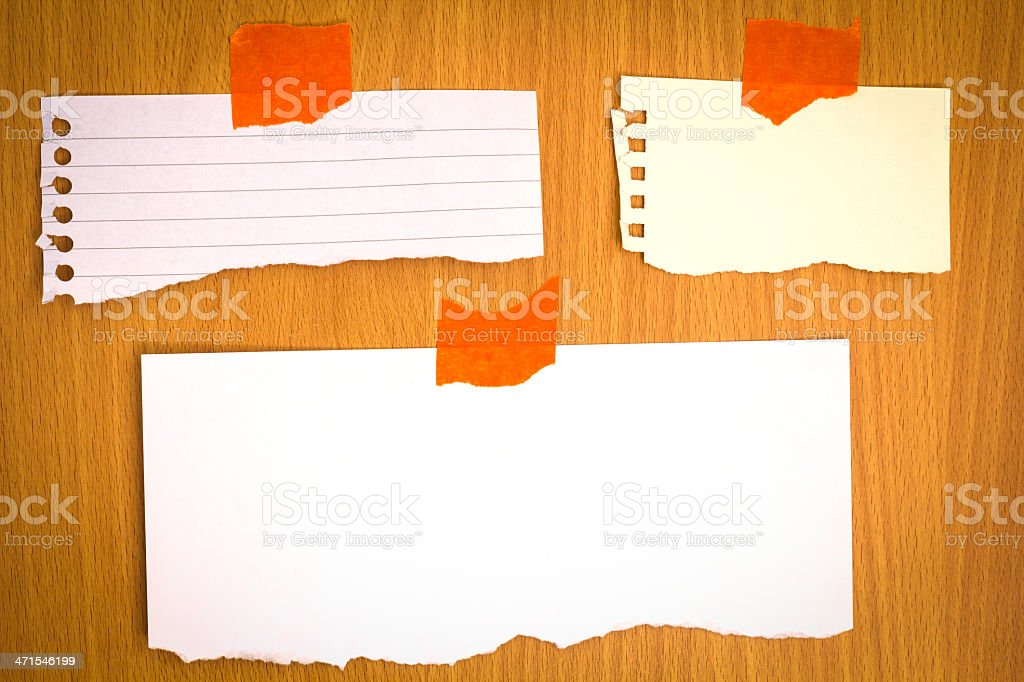 Note papers on wood royalty-free stock photo