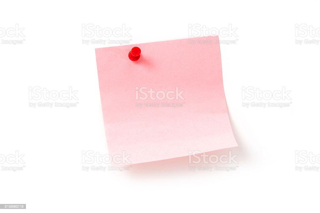 Empurre Nota papéis com pinos no fundo branco foto de stock royalty-free