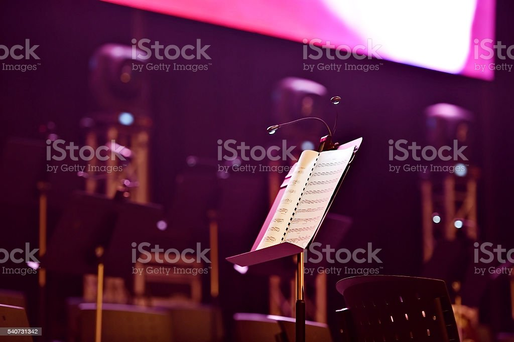 Note stand with led lights stock photo