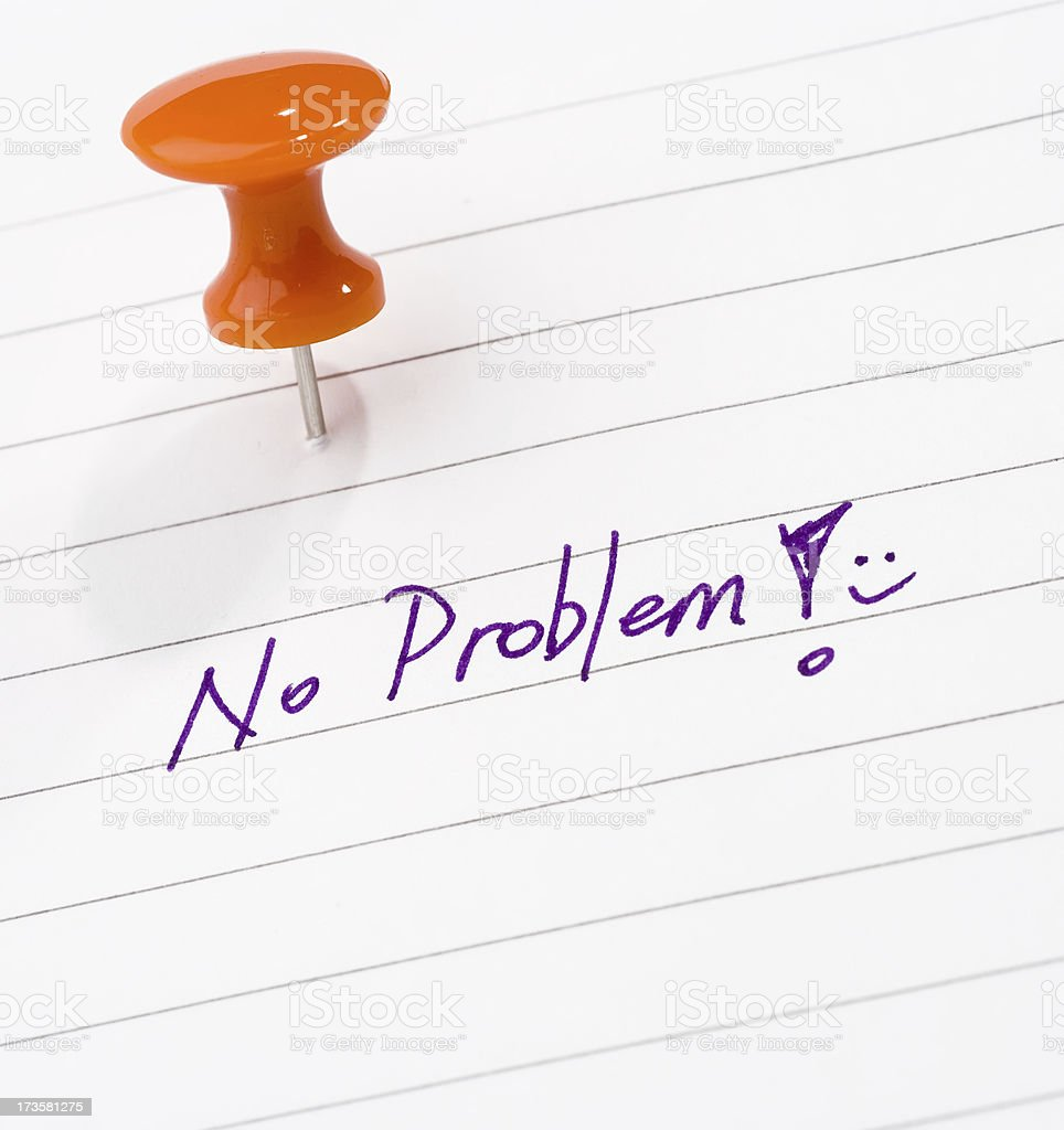 A note tacked up that says no problem royalty-free stock photo