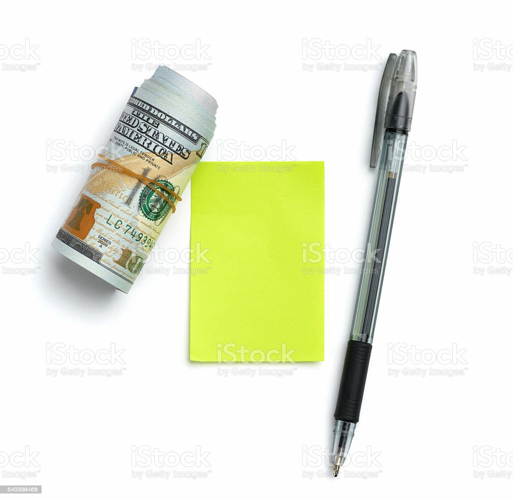 Note to assignment of expenditures stock photo