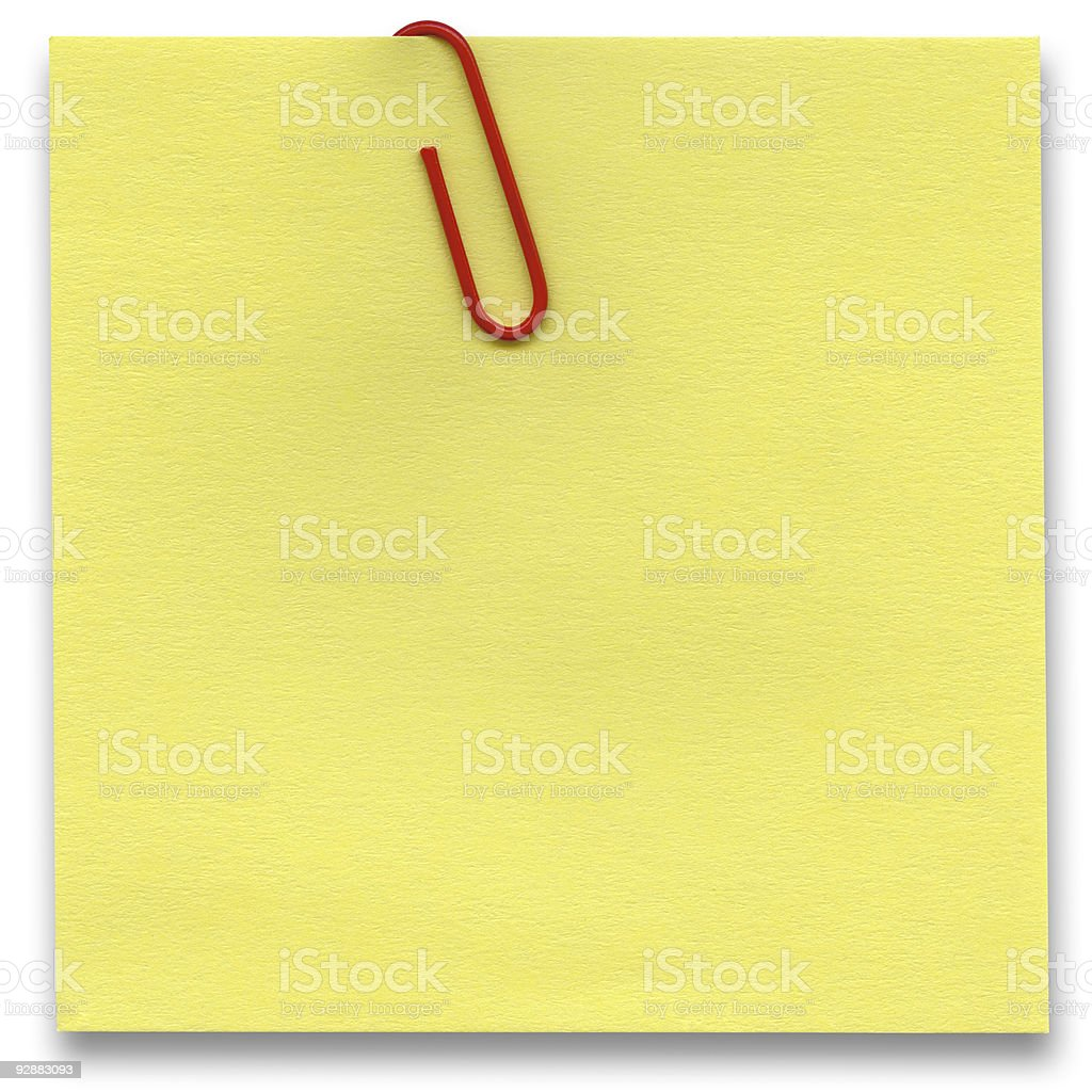 Note with paper-clip isolated white background, clipping path royalty-free stock photo