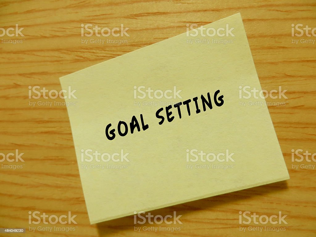 Note with the word 'Goal Setting' stock photo