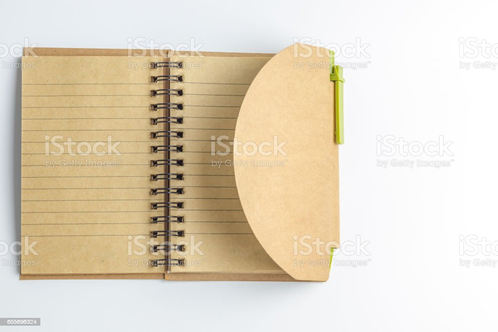 A notebook and a pen stock photo
