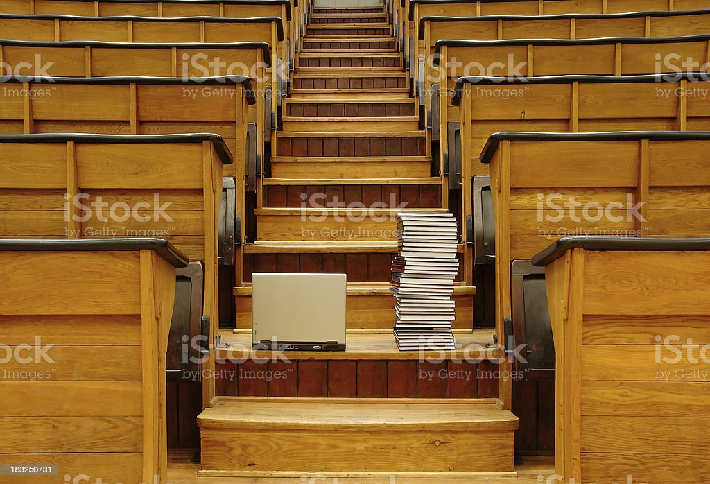 notebook and books at university hall royalty-free stock photo