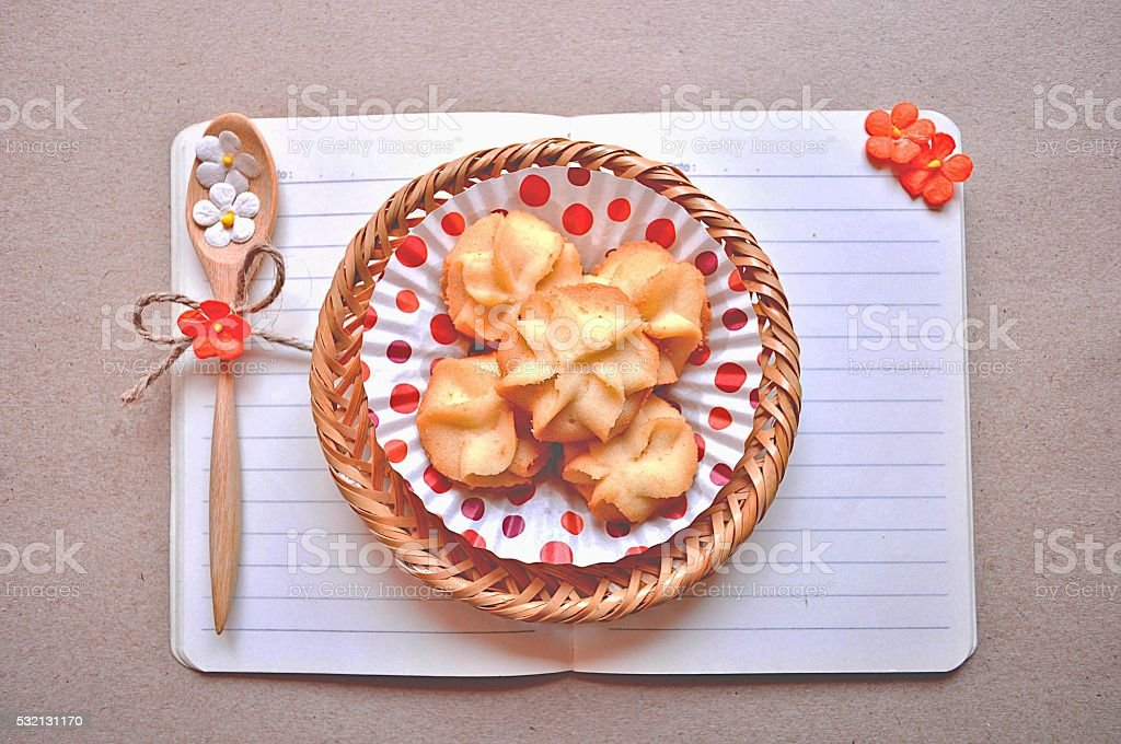 Notebook and Cookie. stock photo