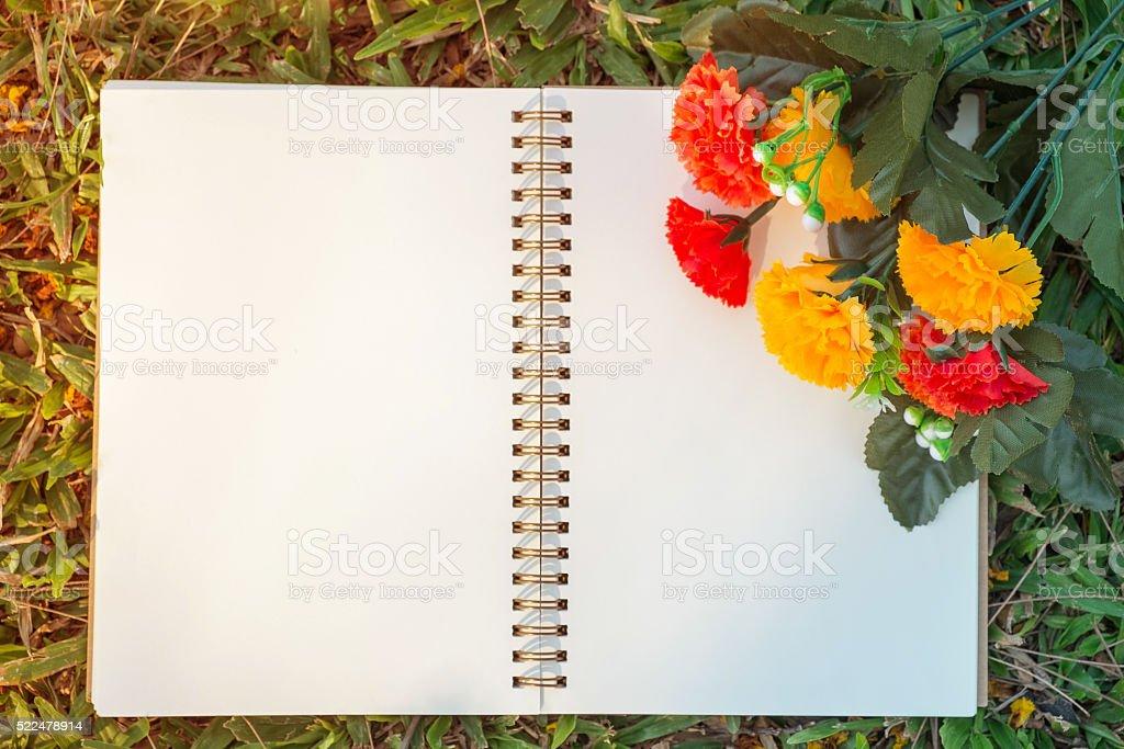 Notebook und Blume Lizenzfreies stock-foto