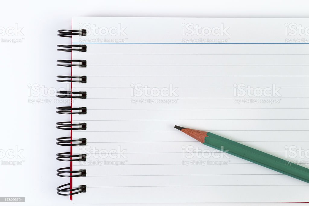 Notebook and green Pencil royalty-free stock photo