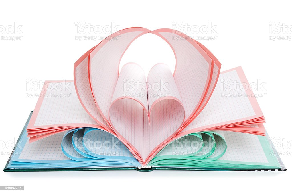 Notebook and heart symbol royalty-free stock photo