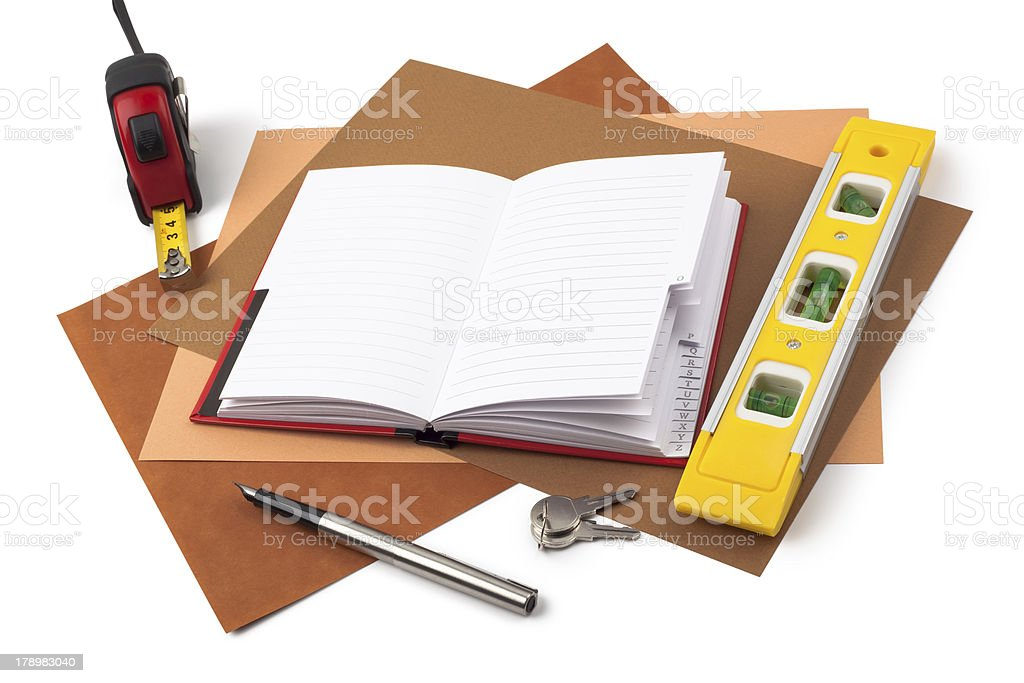 Notebook and measuring instruments on textured  paper royalty-free stock photo