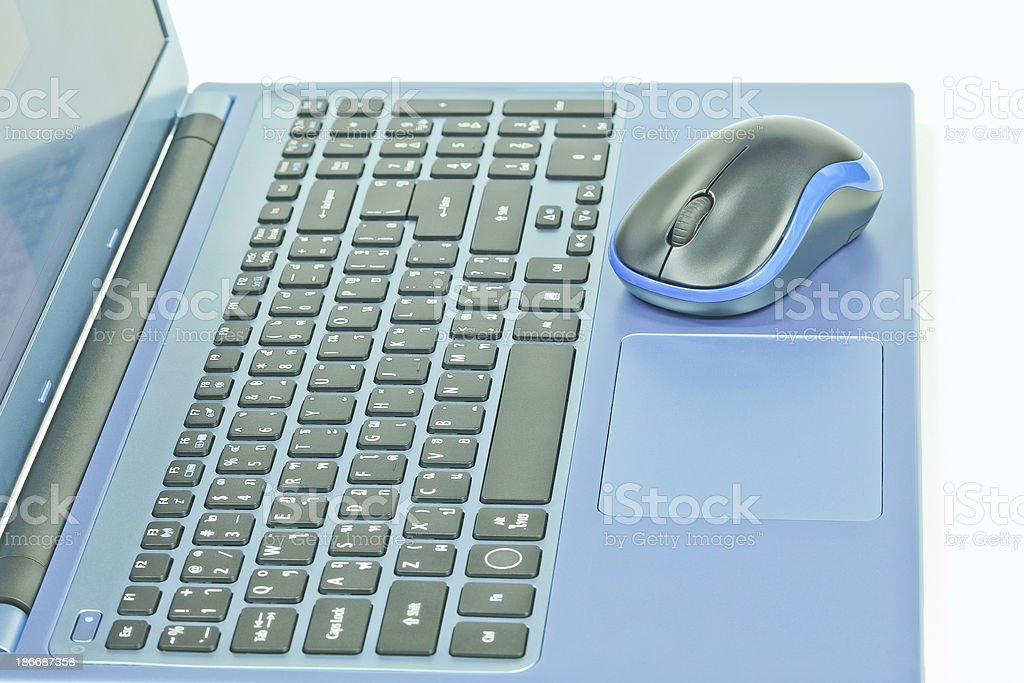 Notebook and mouse royalty-free stock photo