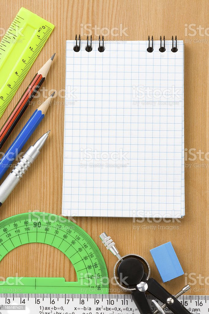 notebook and office supplies royalty-free stock photo