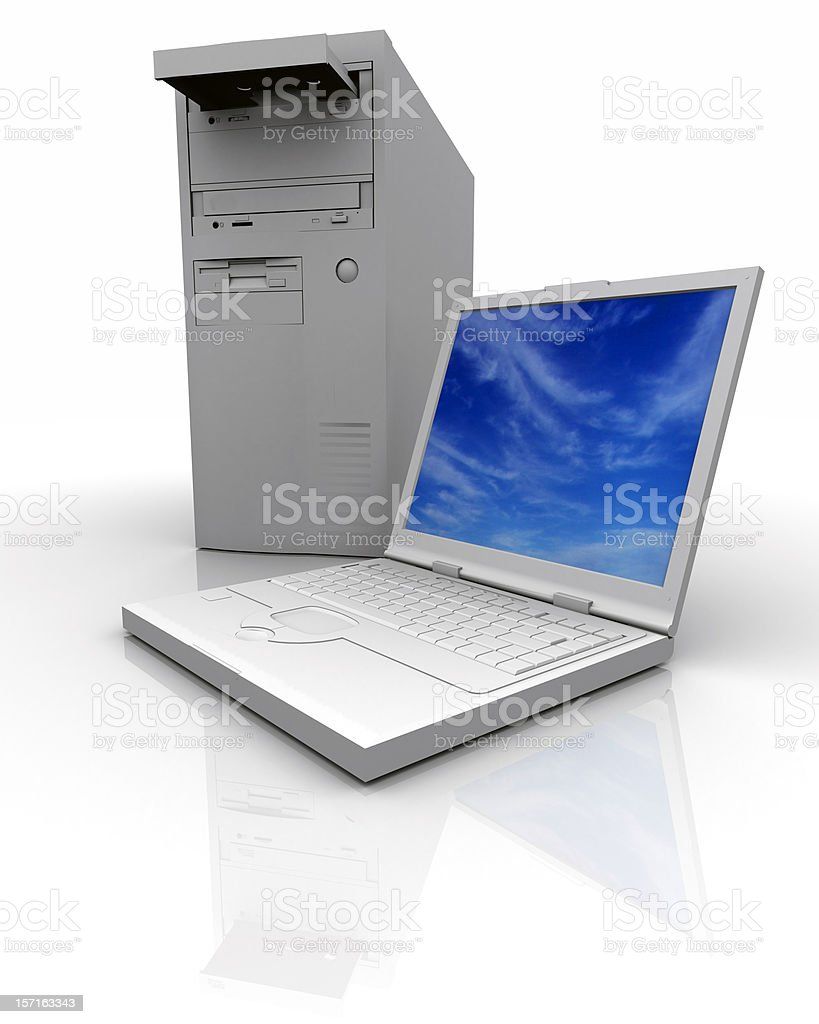 Notebook and PC computer royalty-free stock photo