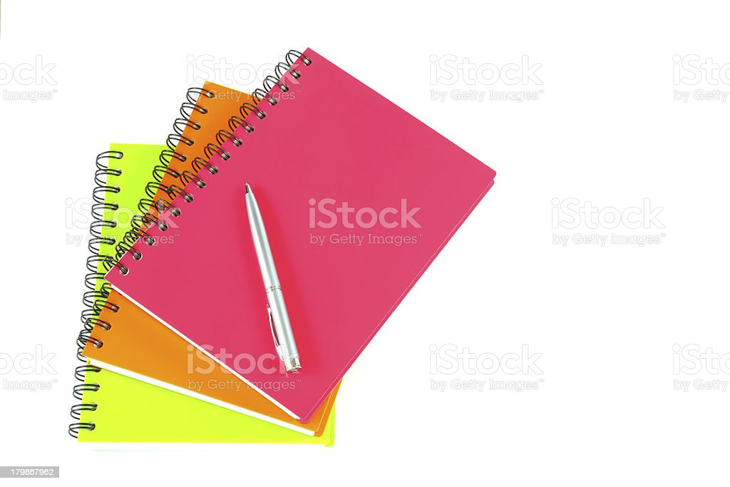 notebook and pen on white background royalty-free stock photo