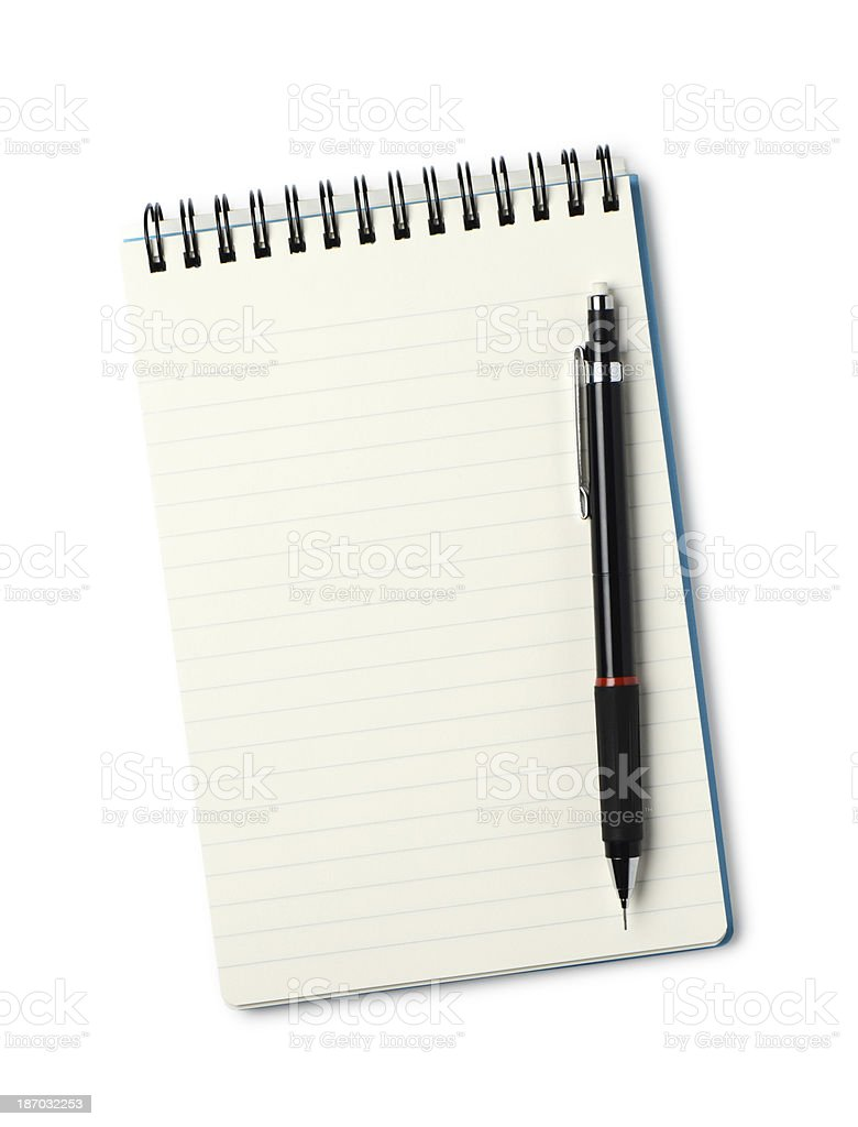 Notebook and pen stock photo