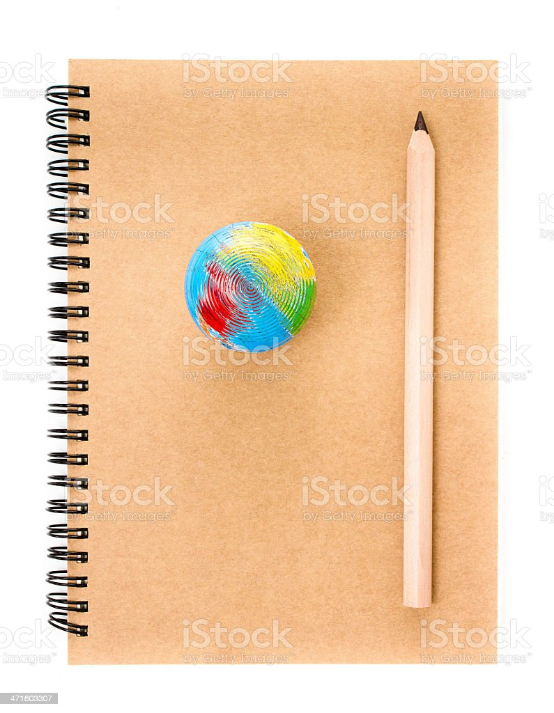 Notebook and pencil over white  background. Back to school royalty-free stock photo