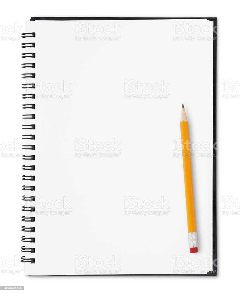 Notebook and Pencil (with path) stock photo