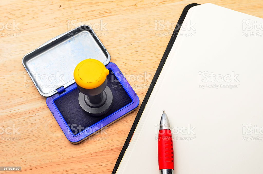 Notebook and personal seal stock photo